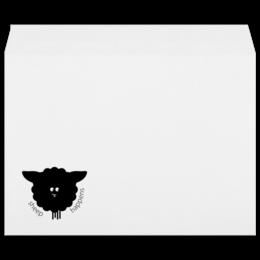 """Конверт большой С4 """"Round Sheep"""" - прикольно, юмор, смешное, оригинально, креативно, овечка"""