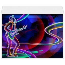 """Конверт большой С4 """"МУЗЫКА"""" - гитара, спектр, стиль эксклюзив креатив красота яркость, арт фэнтези"""
