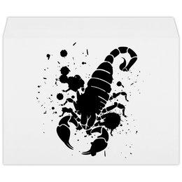 """Конверт большой С4 """"Скорпион (24.10-21.11)"""" - крутой, оригинальный, стильный, скорпион, биология"""