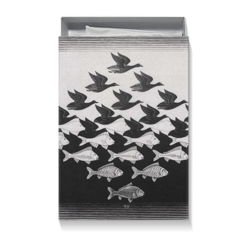 Подарочная коробка большая (пенал) Printio Черно белая рыбы птицы pasteroni ригате 129 450 г