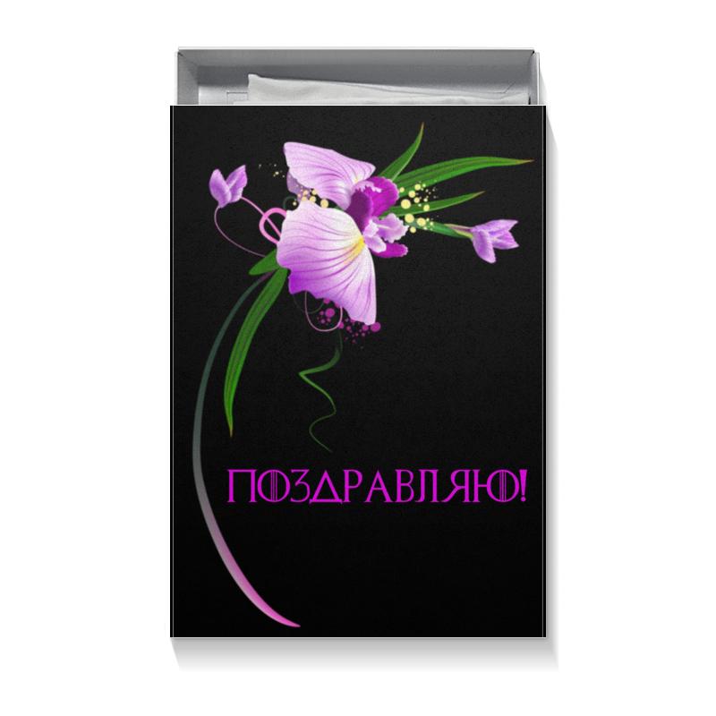 Коробка для футболок Printio Черная с орхидеей подарочная коробка малая пенал printio лилии