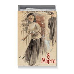 "Коробка для футболок ""на 8 Марта"" - 8 марта, девушка, 8мар, арт, harrison fisher"