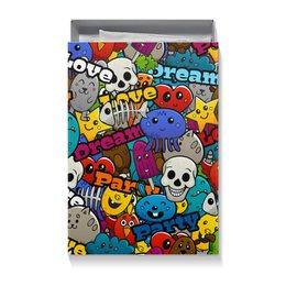 """Коробка для футболок """"СТИКЕРЫ. МУЛЬТФИЛЬМЫ"""" - абстракция, персонажи, стиль надпись логотип яркость, стиль эксклюзив креатив красота яркость, арт фэнтези"""