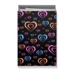 """Коробка для футболок """"Неоновые сердца, с выбором цвета фона."""" - сердце, узор, сердца, сердечки, неон"""