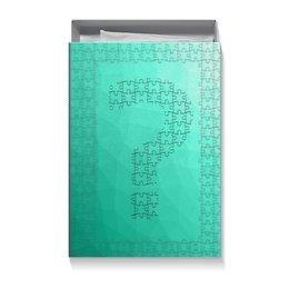 """Подарочная коробка большая (пенал) """"Carbon puzzle secret box"""" - secret box, carbon, тайная коробка, знак вопроса, пазл"""