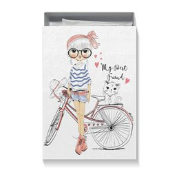 "Коробка для футболок ""Девушка и котёнок"" - девушка, велосипед, котёнок, друг"