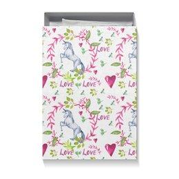 "Коробка для футболок ""Весенний бал"" - розовый, роза, единорог, день влюбленных, 14 февраля"