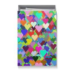 """Коробка для футболок """"Разноцветные сердца орнамент"""" - праздник, любовь, орнамент, подарок, абстракция"""