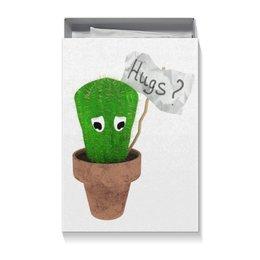 """Коробка для футболок """"Hugs?"""" - обнимашки, колючий, грустный, кактус, hugs"""