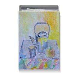 "Коробка для футболок ""На кухне"" - на кухне, стакан, яблоко, чай, чайник"