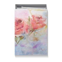 """Коробка для футболок """"Три розы"""" - цветок, розовый, нежный, акварелью, картина акварелью"""