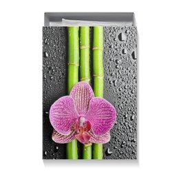 """Коробка для футболок """"Черные капли"""" - цветы, 8 марта, женщине, орхидея"""