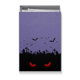 "Коробка для футболок ""Взгляд оттуда"" - хэллоуин, рисунок, взгляд, летучие мыши, кладбище"