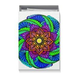 """Коробка для футболок """"Разноцветная мандала (подарочная упаковка)"""" - цветы, узор, подарок, мандала, этнический"""