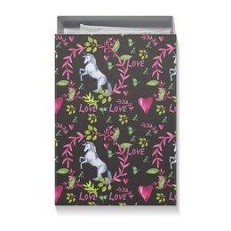 """Коробка для футболок """"Волшебный лес"""" - сердце, животные, 14 февраля, единорог, день влюбленных"""