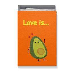 """Коробка для футболок """"Love is..."""" - сердце, любовь, фрукты, влюбленные, авокадо"""
