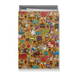"""Коробка для футболок """"СТИКЕРЫ.КОМИКСЫ"""" - абстракция, стиль надпись логотип яркость, стиль эксклюзив креатив красота яркость, арт фэнтези"""