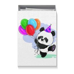 """Коробка для футболок """"Панда поздравляет!"""" - панда, день рождения, медвежонок, праздничный"""
