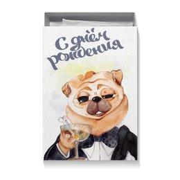 "Коробка для футболок ""мопс великий Гэтсби"" - арт, рисунок, собака, мопс, гэтсби"