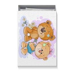 """Коробка для футболок """"Влюблённые медвежата"""" - любовь, сердца, дружба, поцелуй, день влюблённых"""