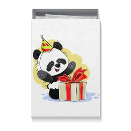 """Коробка для футболок """"Панда поздравляет!"""" - панда, медвежонок, день рождения, подарок, сюрприз"""