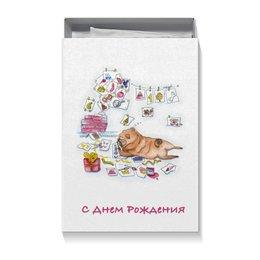 """Коробка для футболок """"Праздничный мопс"""" - мопс, деньрождения, собака, рисунок"""