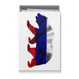 "Коробка для футболок ""Русский Медведь"" - bear, медведь, русский, флаг, russian"