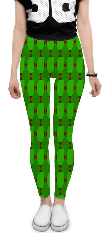 Леггинсы Printio Зеленые ромбы