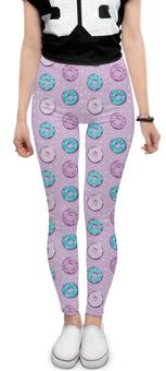 """Леггинсы """"Поп арт дизайн. Пончики паттерн"""" - молодежный, розовый, стильный, модный, попарт"""
