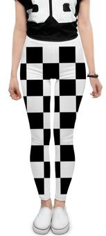 """Леггинсы """"Чёрно-белая клетка"""" - стиль, клетка, минимализм, чёрное и белое"""