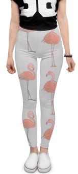 """Леггинсы """"Фламинго"""" - серый, белый, птицы, розовый, акварель"""