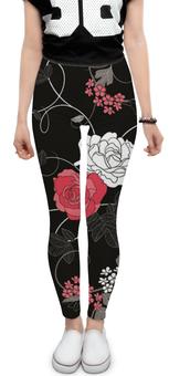 """Леггинсы """"Красная и белая розы"""" - цветы, белое, красное, розы"""