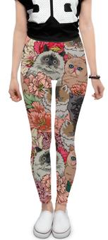"""Леггинсы """"Коты в цветах"""" - приколы, цветы, коты"""