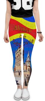"""Леггинсы """"Замки Испании. Замок Сеговия."""" - голубой, испания, полоски, крепость, испанский флаг"""