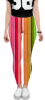 """Леггинсы """"Палитра"""" - радуга, рисунок, разноцветный, цветной, полосатый"""
