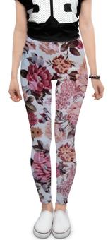 """Леггинсы """"Цветочный узор"""" - цветы, весна, розы, 8марта, шиповник"""