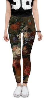 """Леггинсы """"Ваза с цветами (Ян ван Хёйсум)"""" - цветы, картина, живопись, натюрморт, ян ван хёйсум"""
