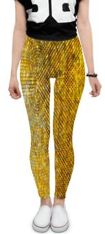 "Леггинсы ""Стразы"" - желтый, круги, стразы, блеск, пайетки"