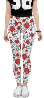 """Леггинсы """"Красные Розы"""" - цветы, рисунок, розы"""