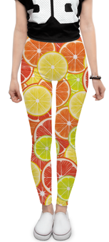 """Леггинсы """"Цитрусы"""" - апельсин, лайм, лимон, грейпфрут, дольки"""