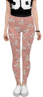 """Леггинсы """"Цветочный"""" - цветок, розовый, вишня, ветка, фон"""