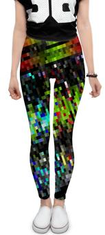"Леггинсы ""Контраст-мозаика"" - полосы, пиксель, квадраты, пиксели, контраст"