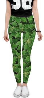 """Леггинсы """"Зеленые листья"""" - цветы, лист, зеленый, куст"""