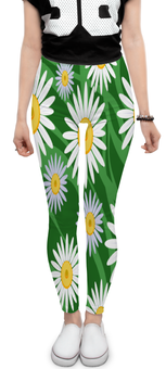 """Леггинсы """"Ромашки"""" - цветы, весна, зеленый, природа, ромашки"""