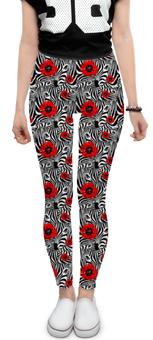 "Леггинсы ""Зебры.Маки."" - стиль, зебра, ярко, мода, констраст"