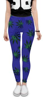 """Леггинсы """"Листья конопли"""" - растение, листья, синий, конопля, каннабис"""