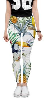 "Леггинсы ""Пеликан и ананасы"" - красиво, птицы, природа, ананас, пеликан"