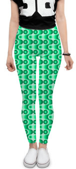 """Леггинсы """"Ретро #1"""" - волны, круги, зеленый, светлый, темный"""