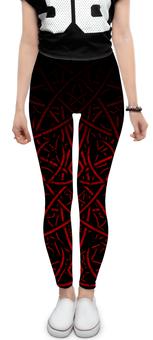 """Леггинсы """"SAMUR JU"""" - орнамент, необычный узор, pattern, red, цветные линии"""