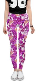 """Леггинсы """"Purple blossom"""" - арт, цветы, рисунок, ромашка, паттерн"""